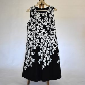 talbots floral dress black and white